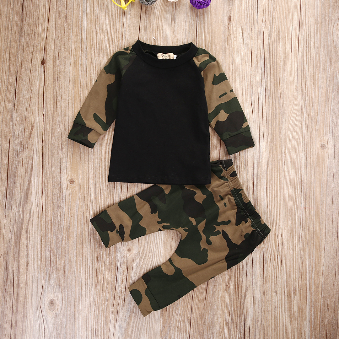 Cute Newborn Baby Boys Kids Clothes Set Camouflage T-shirt Top Long Pants Army Green Baby Boys Clothing Outfit 2017 new boys clothing set camouflage 3 9t boy sports suits kids clothes suit cotton boys tracksuit teenage costume long sleeve