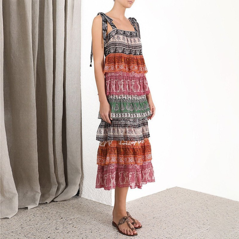 Kadın Giyim'ten Elbiseler'de GALCAUR Vintage Patchwork Hit Renk Kadınlar Elbise Kolsuz Baskı Büyük Boy Midi Elbiseler Kadın Moda Giysiler 2019 Yaz'da  Grup 2