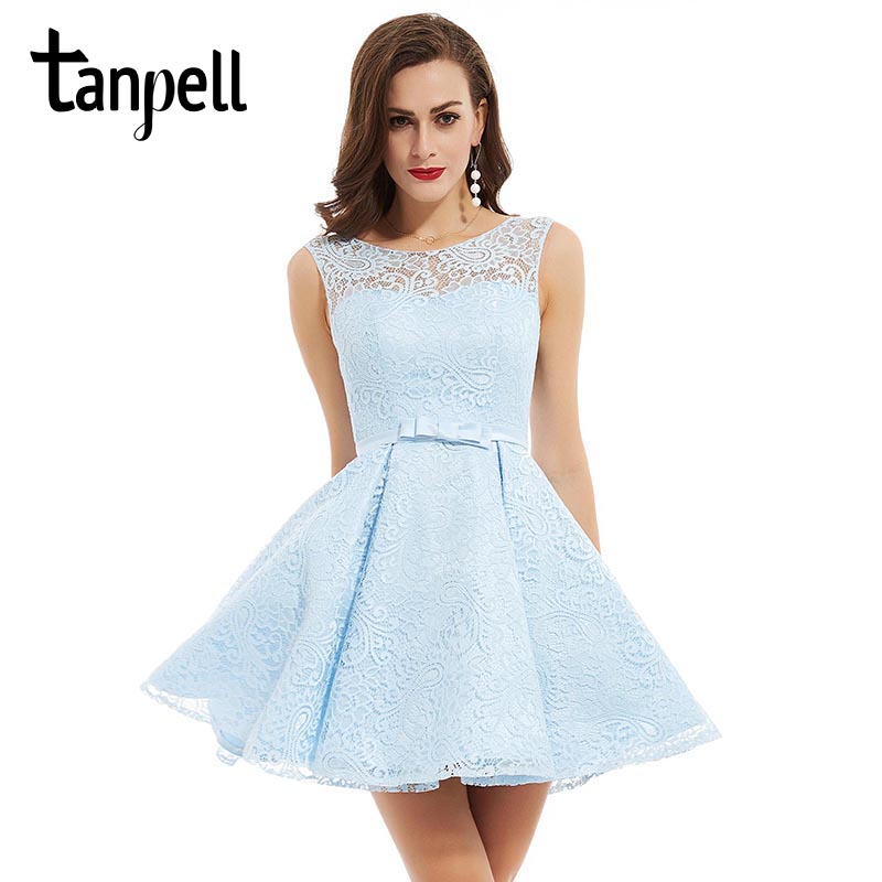 Tanpell short homecoming dresses blue scoop sleeveless above knee a line dress cheap women ruched lace cocktail homecoming gown