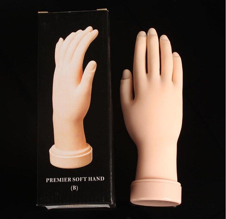 1 piece Flexible Nail Art Practice Hand Model Soft Plastic Training ...
