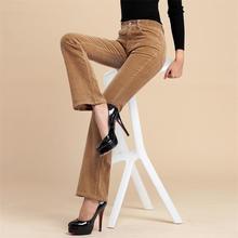 Высокое качество, г. Новые женские весенне-осенние вельветовые ботинки штаны с вырезами Брюки-клеш со средней талией для мамы, большие размеры 38