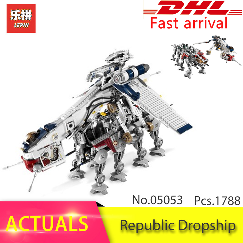 Lepin 05053 1788pcs Star Series Wars The Republic Dropship with AT-OT Model Build Block Brick Toys For Children 10195 Gift