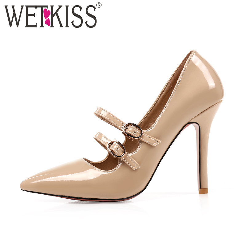 WETKISS Women Pumps Ladies Shoes Buckle Shallow Pointed-Toe High-Heels Fashion Patent