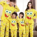 Familia que arropan Spongebob hija madre otoño de la moda a juego 2 unids conjuntos de pijamas padre hijo Garfield completo ropa de dormir