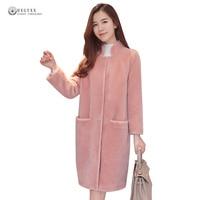 New Hot Sale Faux Fur Coats Women 2017 Pure Color Soft Warm Wide Waisted Fur Overcoat