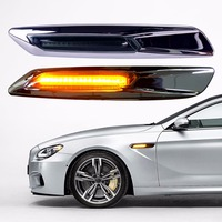 2pcs Car LED Carbon Fiber Paper Fender Turn Signal Lamp for BMW E46 E82 E87 E88 E90 E91 E92 E60 E61Auto Light Car styling