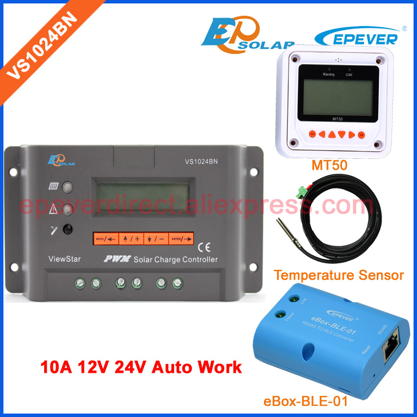 Bluetooth BLE BOX with solar controller VS1024BN PWM EPSolar series temperature sensor 10A 10amp 24V Remote Meter MT50 vs1024bn new pwm controller network access computer control can connect with mt50 for communication