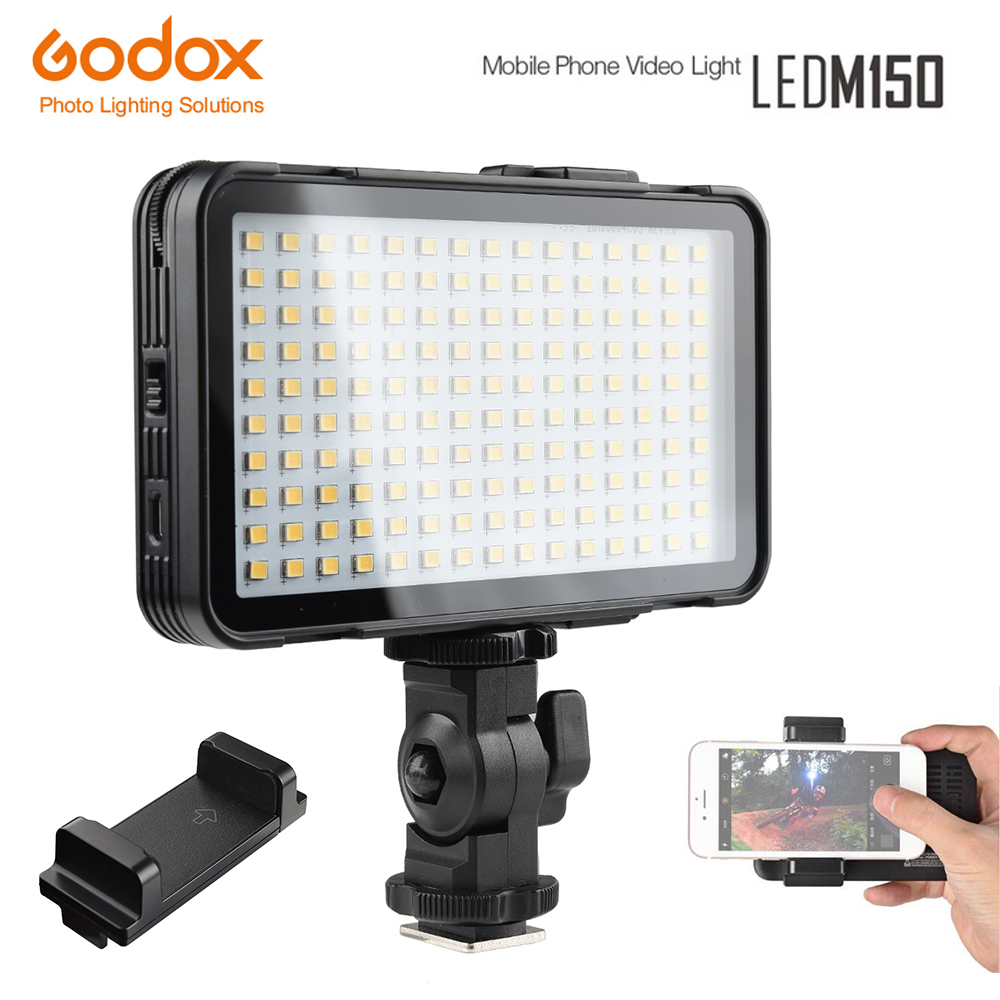 Godox LEDM150 Mobile Phone Video Light Max Power 9W 5600K with USB Power Charge Socket for Portable Digital Camera Camcorder DV godox ledm150 mobile phone video light max power 9w 5600k usb power charge socket for portable digital eos camera camcorder dv