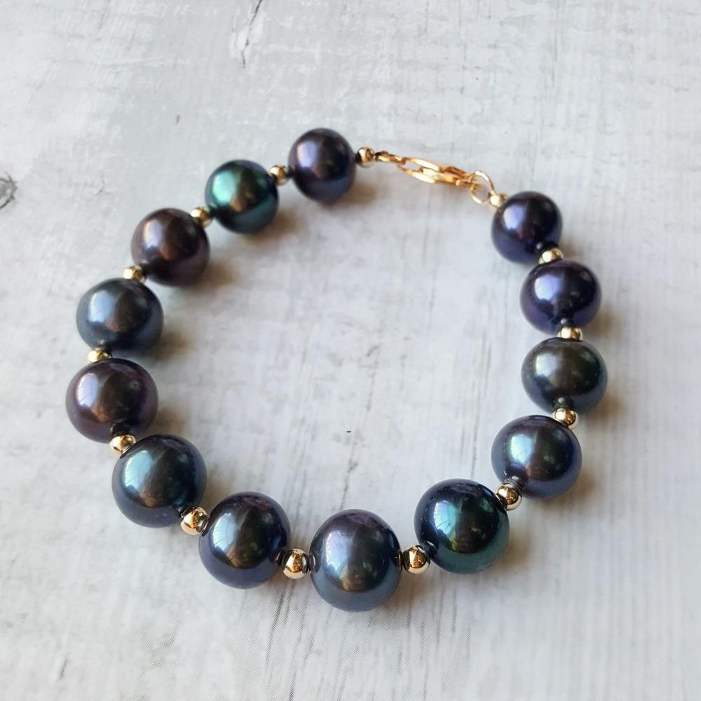 Lii Ji 10-11mm ronde vraie perle d'eau douce 925 en argent Sterling 18 K plaqué or fermoir Bracelet Bracelet fin pour les femmes cadeau