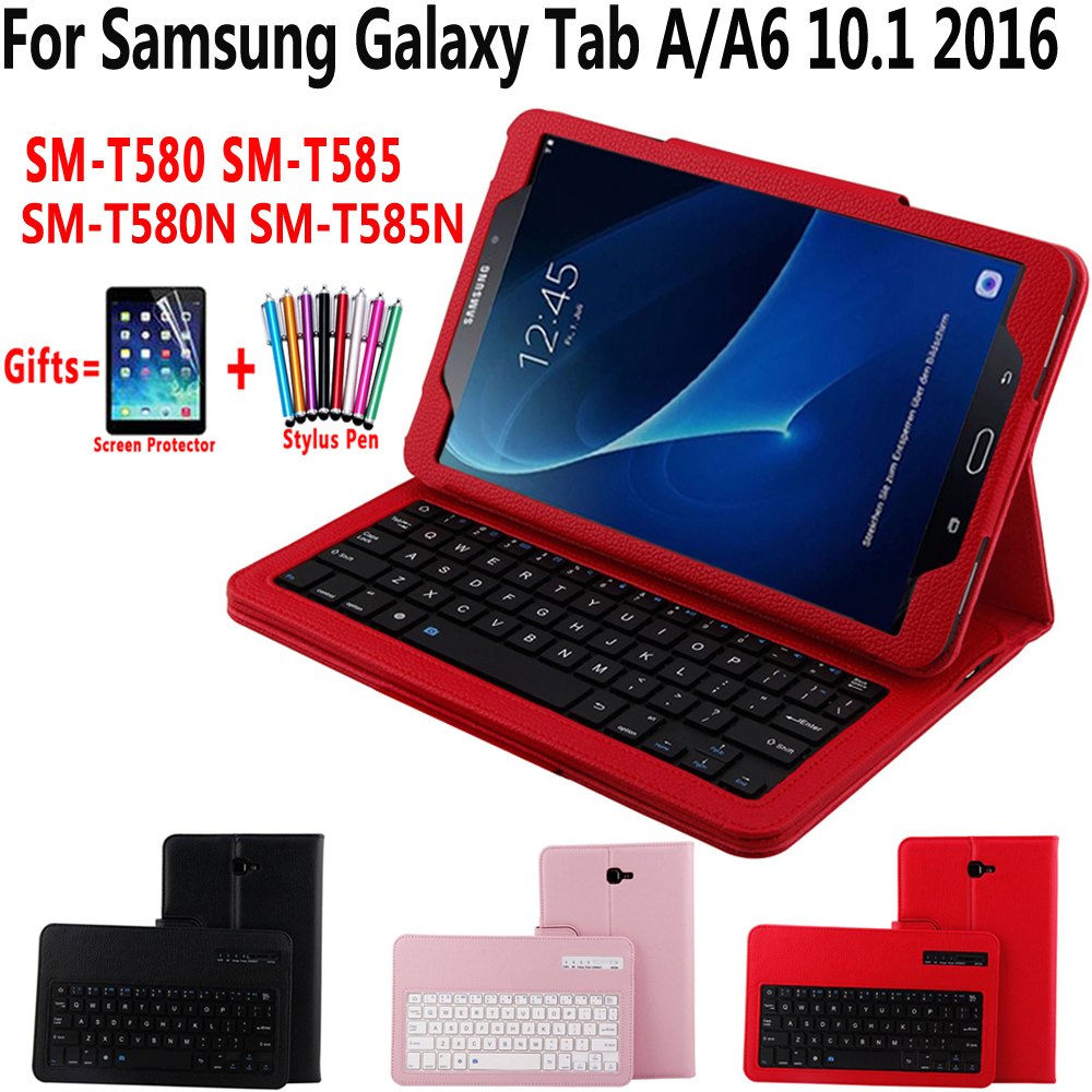 Detach Wireless Bluetooth Keyboard Case Cover for Samsung Galaxy Tab A A6 10.1 2016 T580 T585 T580N T585N With Screen Protector bluetooth keyboard for samsung galaxy note gt n8000 n8010 10 1 tablet pc wireless keyboard for tab a 9 7 sm t550 t555 p550 case