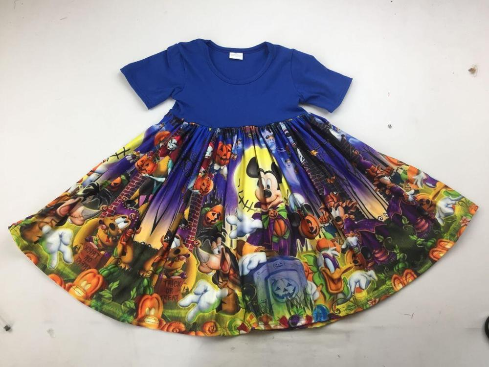 new fashion children halloween clothing cute cartoon pattern boutique girls dress(China)