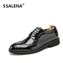 Men British Style Casual Brogue Shoes Male Lace Up Breathable Wedding Business Shoes Men Pointed Toe Office Shoes AA60827