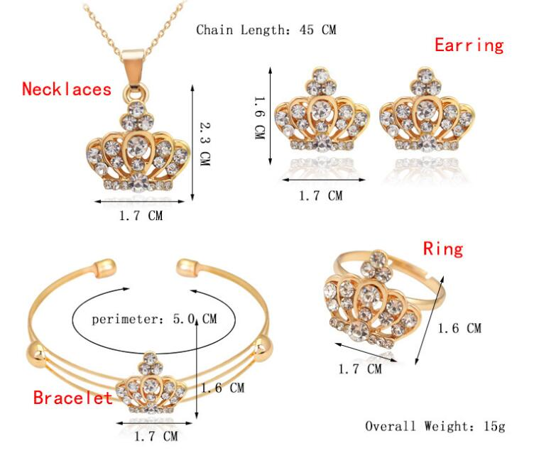 4 Pcs/ Set Cute Crown Shaped Neclace Earrings Sets Jewelry Crystal Kid Children Lovely Gold Color Jewelry Sets for Girl Gift