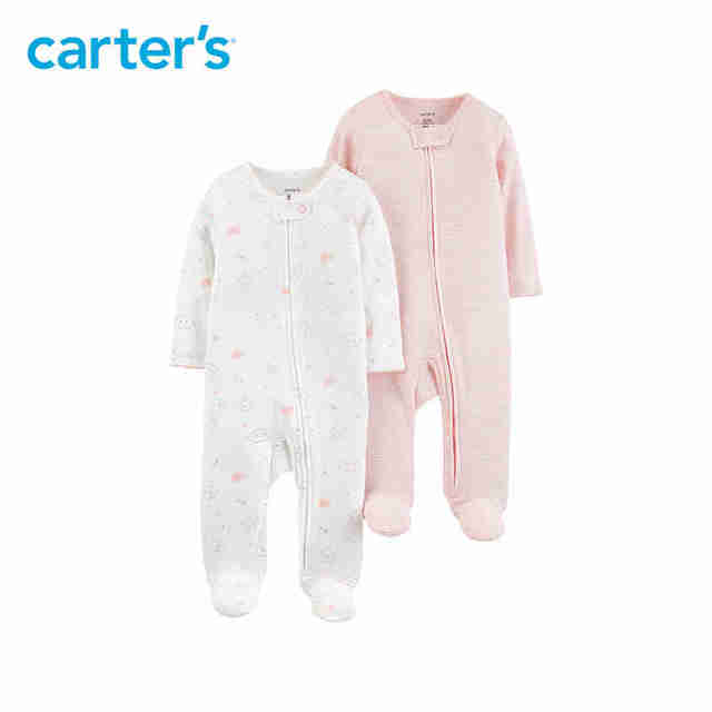 44a35eb87c73f Carters 2-Pack Zip-Up Cotton Sleep & Play Baby boy clothes Soft cotton long  sleeve footies newborn baby girl overalls 126H559