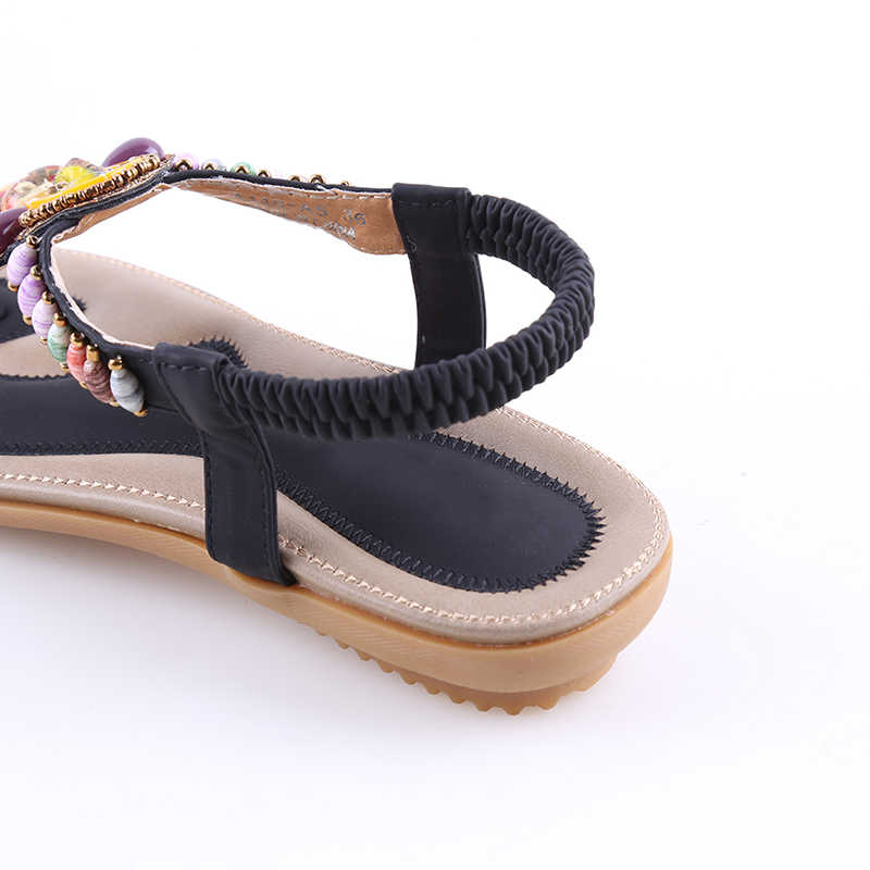 24999de592 2018 Summer Flat Sandals Ladies Women Bohemian Beach Flip Flops Shoes  Gladiator Fashion Beaded Sandles Zapatos Mujer Sandalias