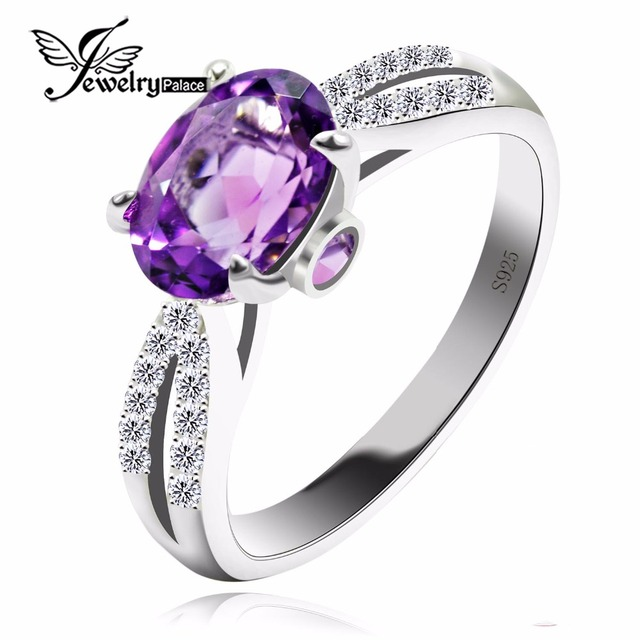 Fashion Natural Purple Amethyst Engagement Wedding Halo Ring For Women Oval Cut Pure Solid 925 Sterling Silver Jewelry 2016 New