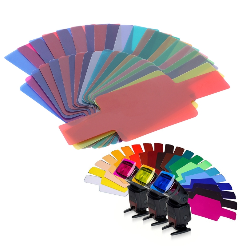 20 Color Photographic Color Gel Filter Cards Set Flash Speedlite for Canon Nikon Flash Color Gels