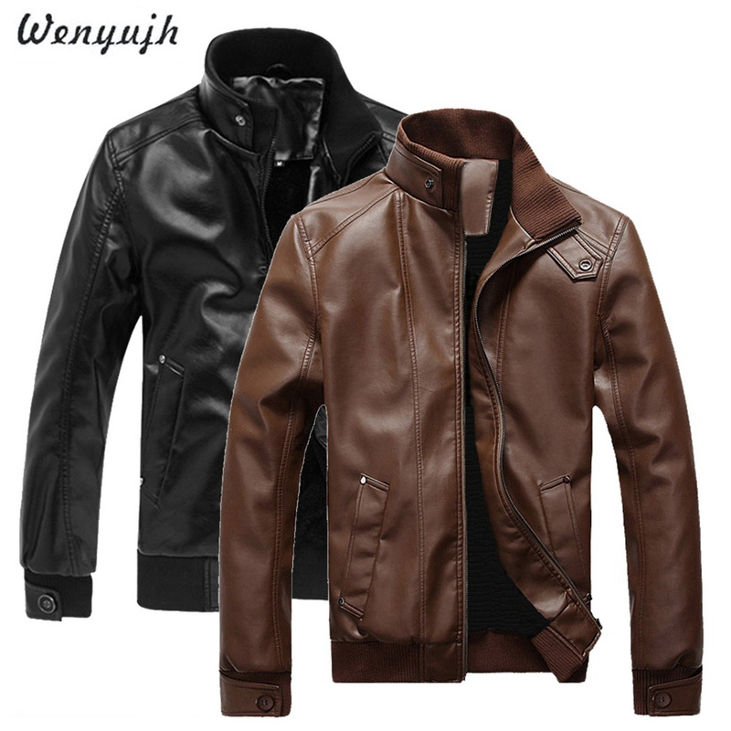WENYUJH WENYUGH 2018 Autumn Male Leather Jacket Plus Size 3XL Black Brown Mens