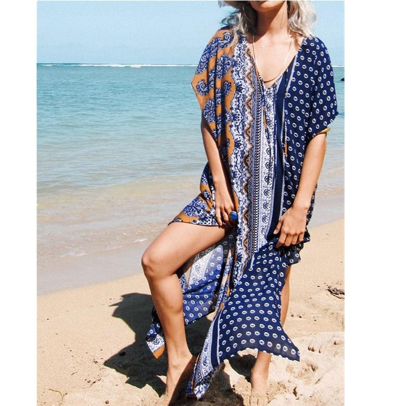 cotton long beach cover up dress plus size pareo beach kaftan robe de plage beach tunics v neck