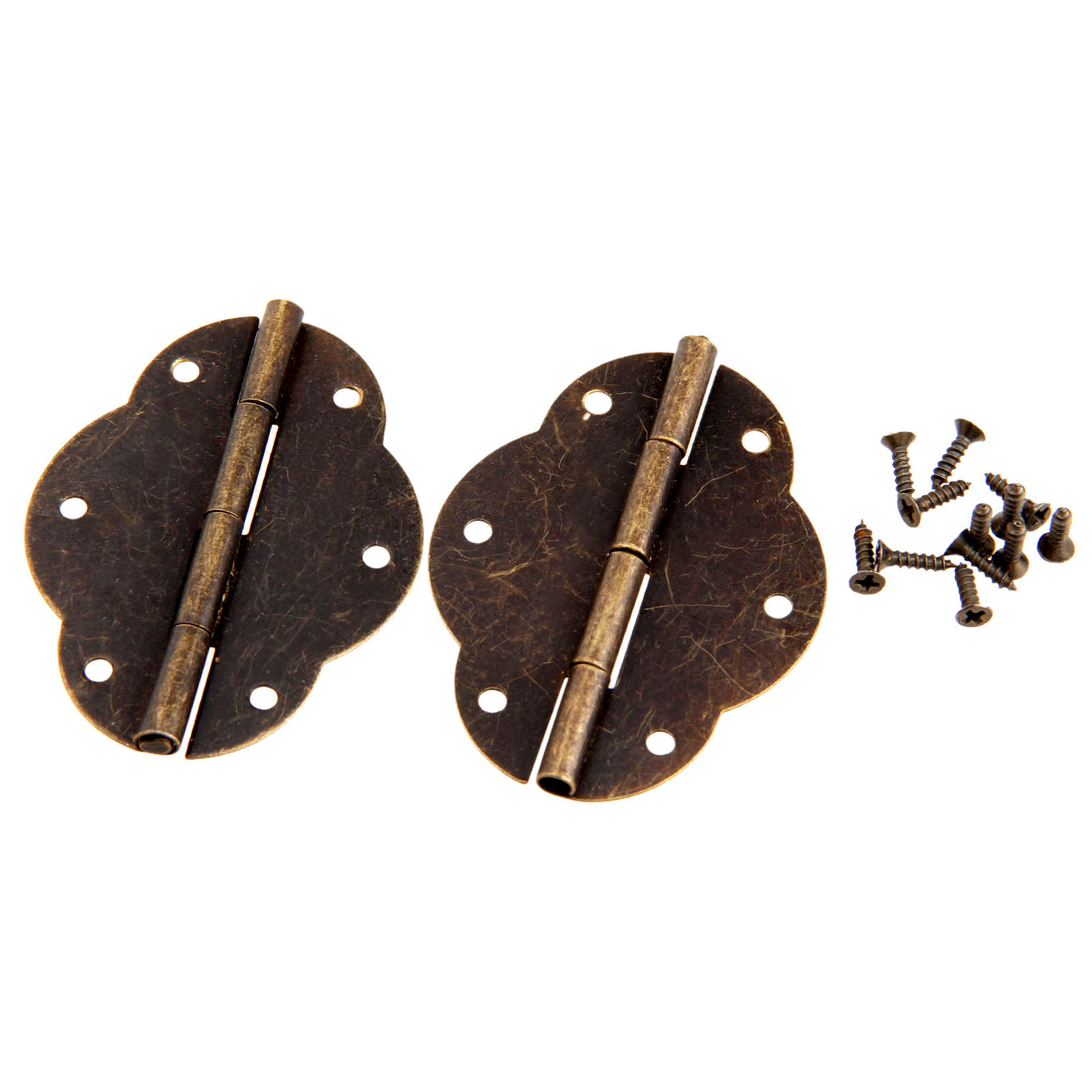 DRELD 2Pcs Antique Bronze Cabinet Hinges Door Butt Hinge Wood Gift Jewelry Box Hinge Fittings for Furniture Hardware with Screws in Cabinet Hinges from Home Improvement