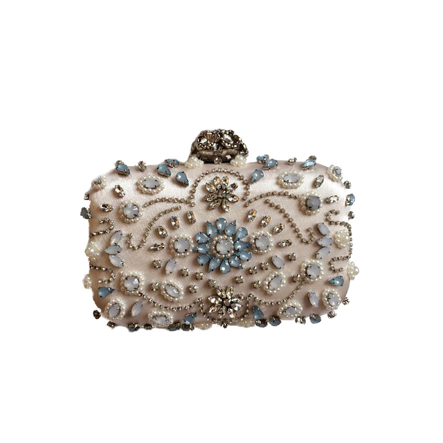 2016 New European and American fashion women clutch bag diamond bridal dinner party gatherings hand beaded chain shoulder bag