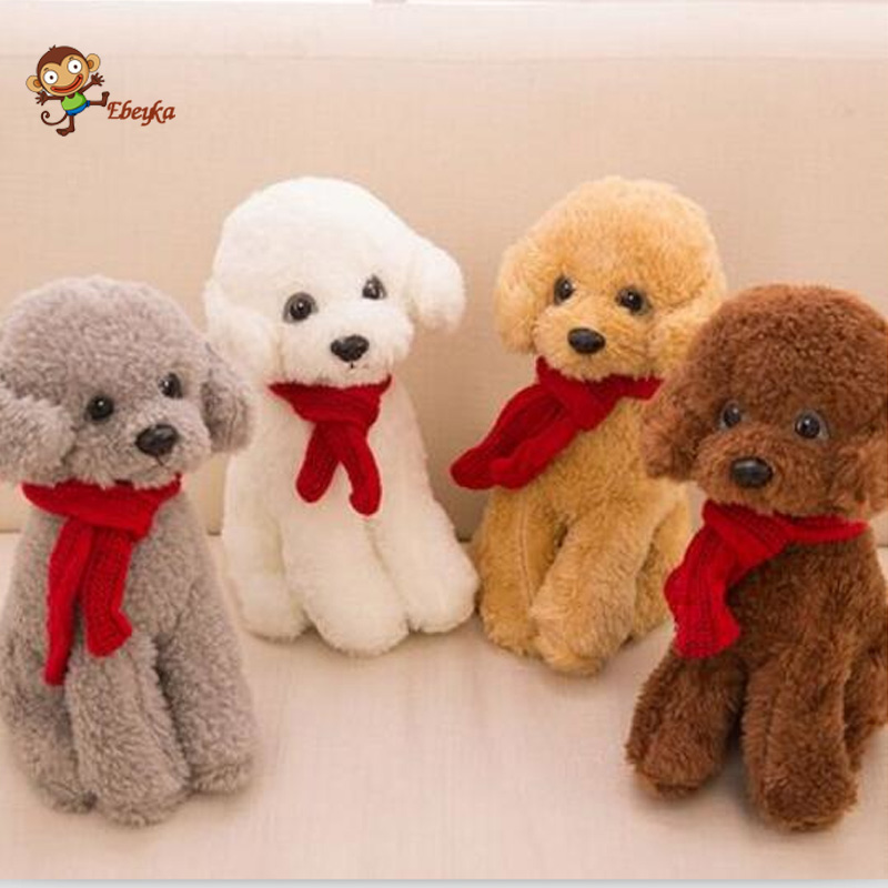30cm Scarf Tactic dog plush toy poodle dog doll simulation high-end For Childrens Gift Kids Toys