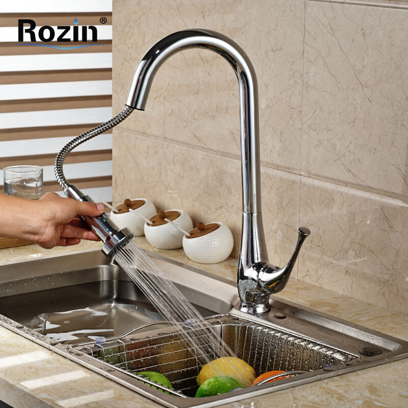 Brand New Kitchen Sink Pull Out Spout Faucet Single Handle Deck Mount Two Sprayer Nozzle Mixer Taps Chrome Finish swivel spout deck mount kitchen spring mixer faucet single handle dual sprayer nozzle water taps chrome finish