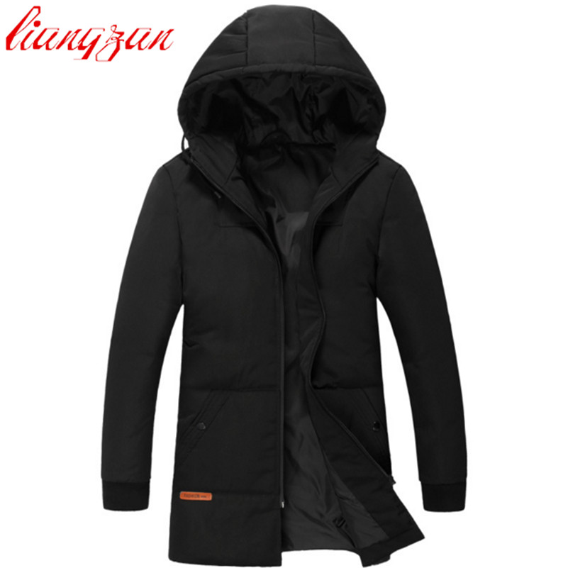 Men Hoodies Down Coats Brand Design Winter 90% White Duck Warm Snow Medium-Long Down Parkas Casual Slim Fit Thick Coats F2356 waist belted solid long coat