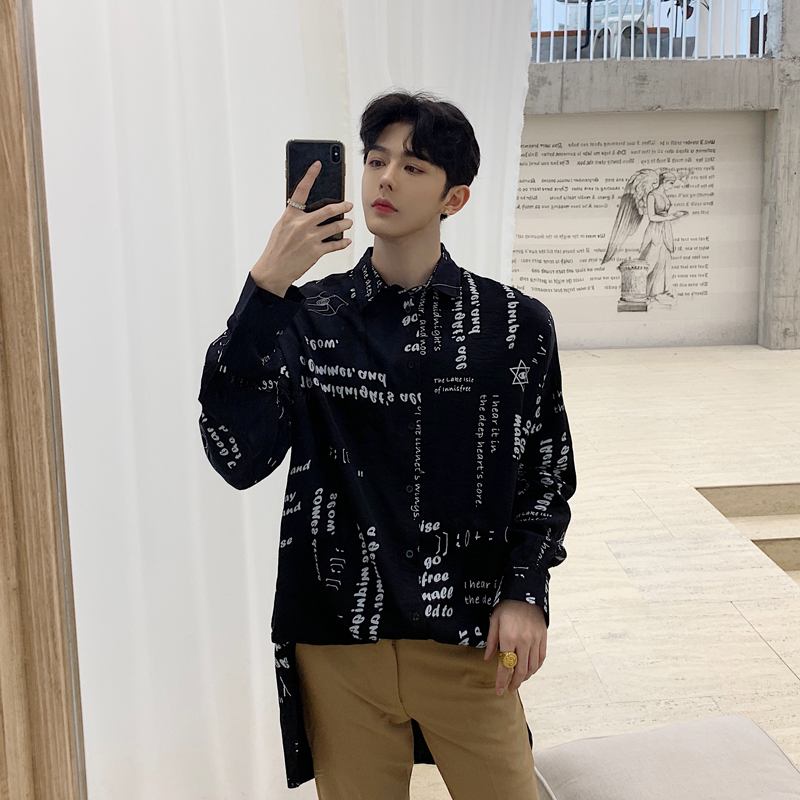Men Oversized Vintage Fashion Casual Long Sleeve Shirts Letter Print Streetwear Hip Hop Male Long Dress Shirts