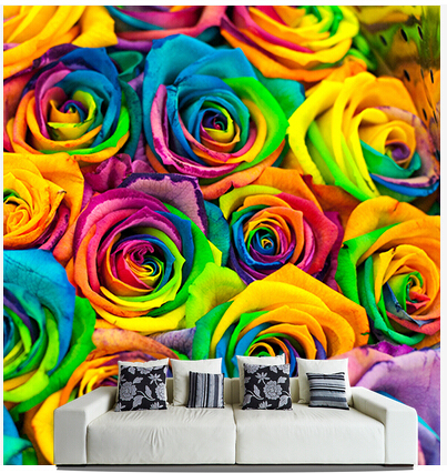 Custom Photo Wallpaper Coloured Roses Murals For The Sitting Room Bedroom TV Sofa Wall Waterproof Vinyl Papel DE Parede In Wallpapers From Home