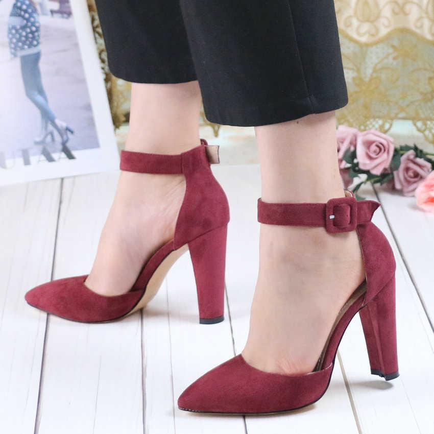QUTAA 2020 kadın pompaları moda kadın ayakkabı parti düğün süper kare yüksek topuk sivri burun kırmızı şarap bayanlar pompaları boyutu 34-43