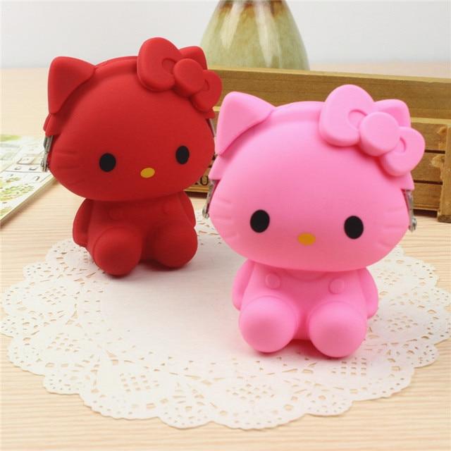 Bonjour Kitty Chat Kawaii De Bande Dessinee Silicone Petit Hasp Sacs