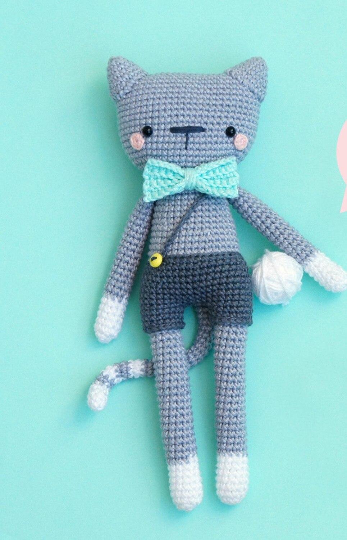 Gehaakte speelgoed amigurumi kat rammelaars pop nummer WS0108 1