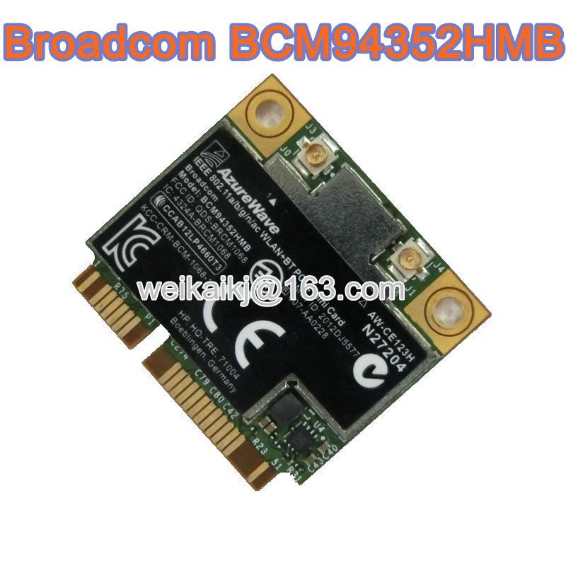 BroadCom BCM4352 BCM94352HMB Half Mini PCIe PCI-express Wireless WIFI WLAN BT Bluetooth Card 802.11AC 867Mhz For  724935-001