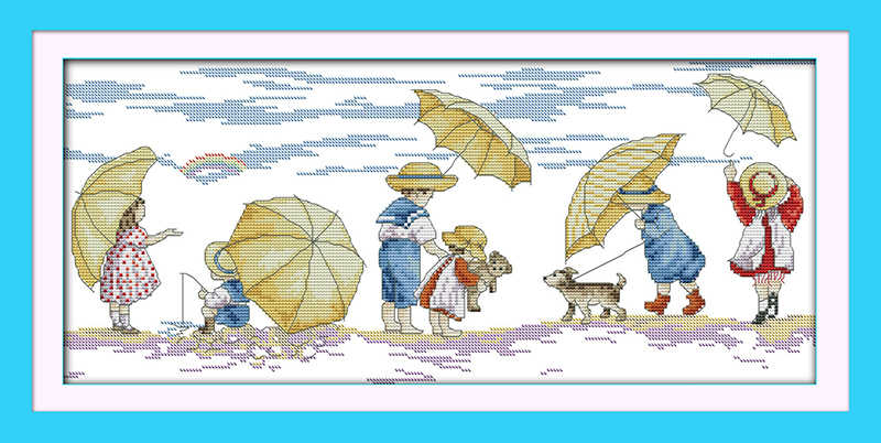 Playing on the beach (1) cross stitch kit 14ct 11ct count print canvas stitching embroidery DIY handmade needlework