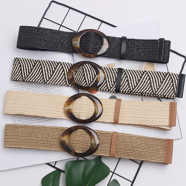 2019Hot Sell New Womens Belt New Style Candy Colors Hemp Rope Braid Belt Female Belt For Dress Round Elastic Buckle Belt BZ55