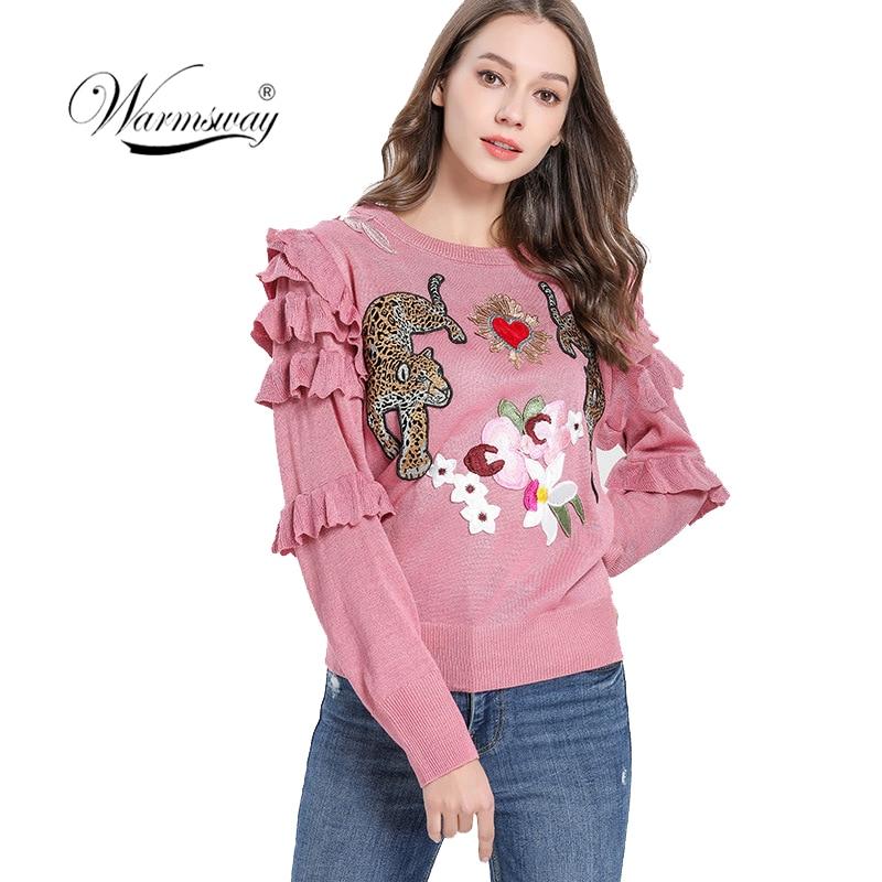 Automne hiver Animal broderie chandails tricotés pulls femmes conception de piste à volants haut élégant vêtements dame pull C-193 - 2
