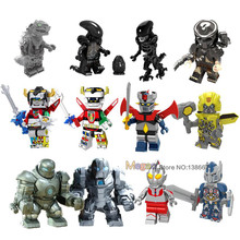 Legoings Super Heroes Voltron Beast King Golio Mazinger Z Predator Alien Iron Man 28 FX Ultraman Action Building Block toys(China)