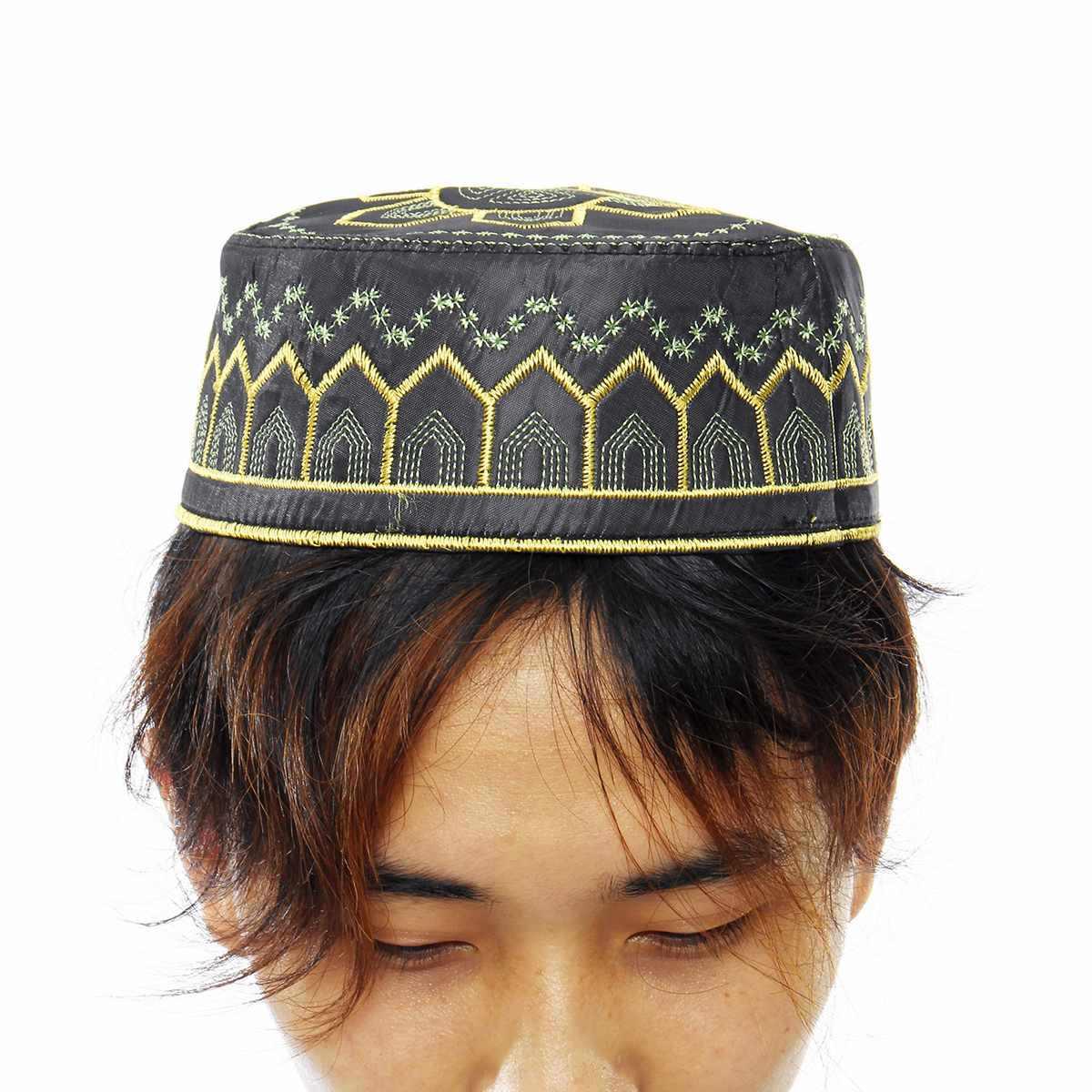 แฟชั่นมุสลิมอิสลามสวดมนต์หมวกหมวกหมวกอินเดียหมวก Topi Kufi รอบหมวก Eid Ramadan อธิษฐานชายอาหรับมุสลิมใหม่มาถึง 2019