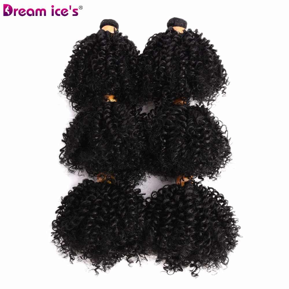 Dream ice's Afro bouncy curly bundles hair extensions 6 pieces/pack one pack one head synthetic  hair weave for black women