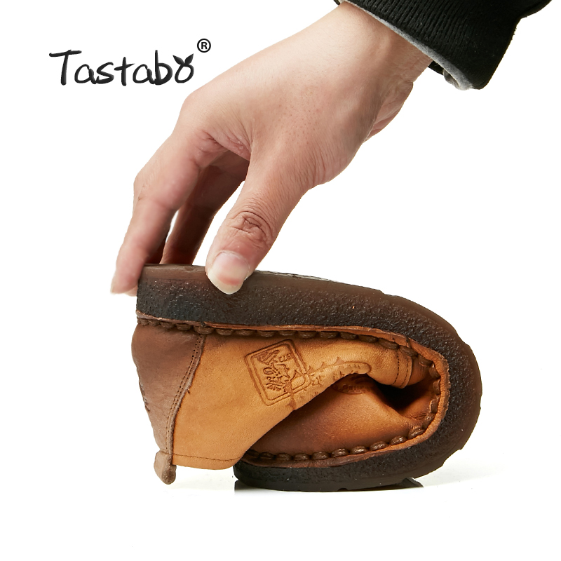 Tastabo Véritable En Cuir Plat Chaussures Femmes Enceintes Chaussures Mère Conduite Chaussures Femmes Mocassins Femmes Appartements à La Main À Coudre Chaussures - 4