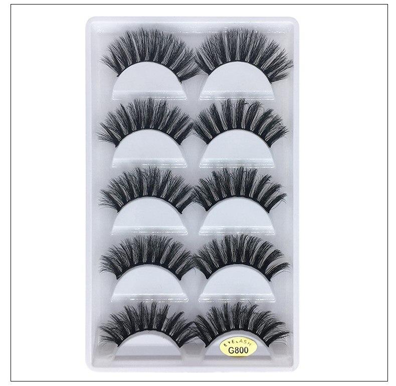 reutilizavel mink cabelo cilios posticos 3d 5 pares cada conjunto de mao feito cilios vison soft