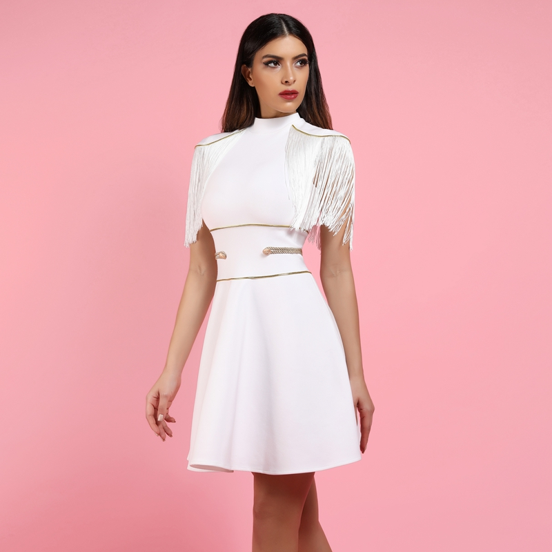 A-Line Bandage Dress White 5