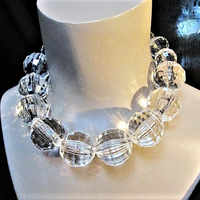 FishSheep Statement Clear Big Acrylic Ball Choker Necklace Crystal Beaded Long Pendant Necklace Collar For Women Fashion Jewelry