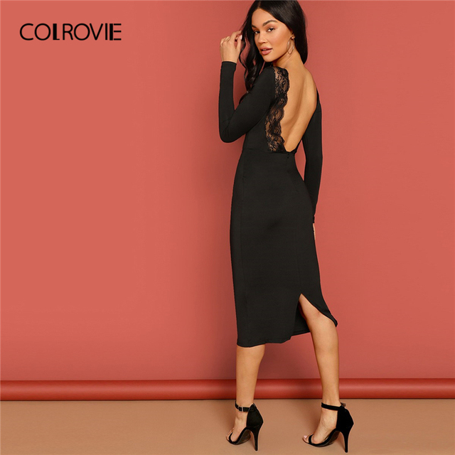 0d0123caa89c COLROVIE Black V Neck Backless Pencil Lace Dress Women 2019 Spring Long  Sleeve Bodycon Midi Party