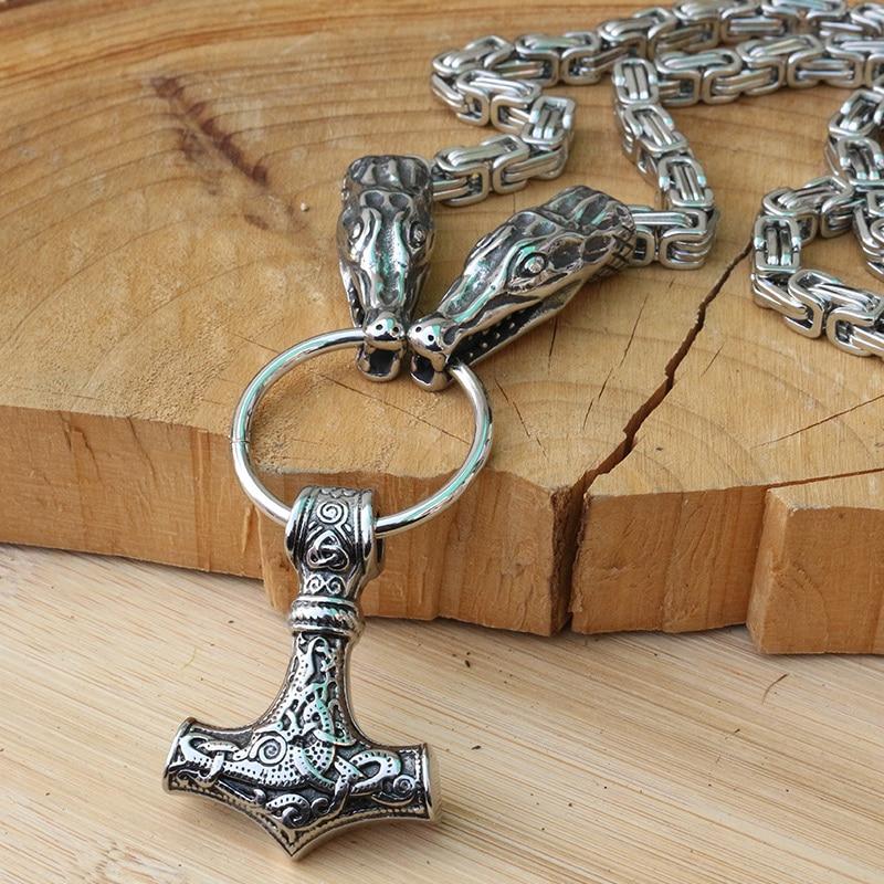 Viking Thor/'s Hammer Chèvre Collier Pendentif Vikings Bélier en Acier Inoxydable Chaîne