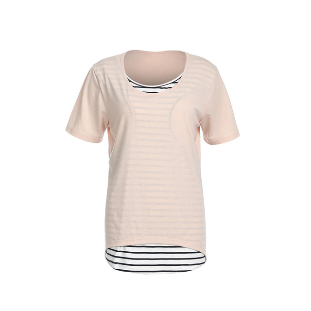 47700524a Trendy women clothes round neck short sleeve Maternity T-shirts striped  Nursing Breastfeeding Pregnant Tops one pieces