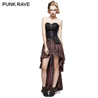 PUNK RAVE Steampunk Retro Strapless Tube Top Long Chest type Asymmetric Hem Clothing High Low Lace Pleated Black Elegant Dress