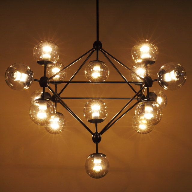 Modern Chandeliers Lightings Iron Er Pendant Chandelier Black Large Led Ceiling Lamp Clear Glass Globe Lights