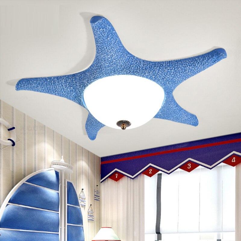Işıklar ve Aydınlatma'ten Tavan Işıkları'de Çocuk odası ışıkları erkek ve kız yatak odası ışıkları sevimli karikatür yaratıcı denizyıldızı led Tavan Işık Akdeniz tavan lambası title=